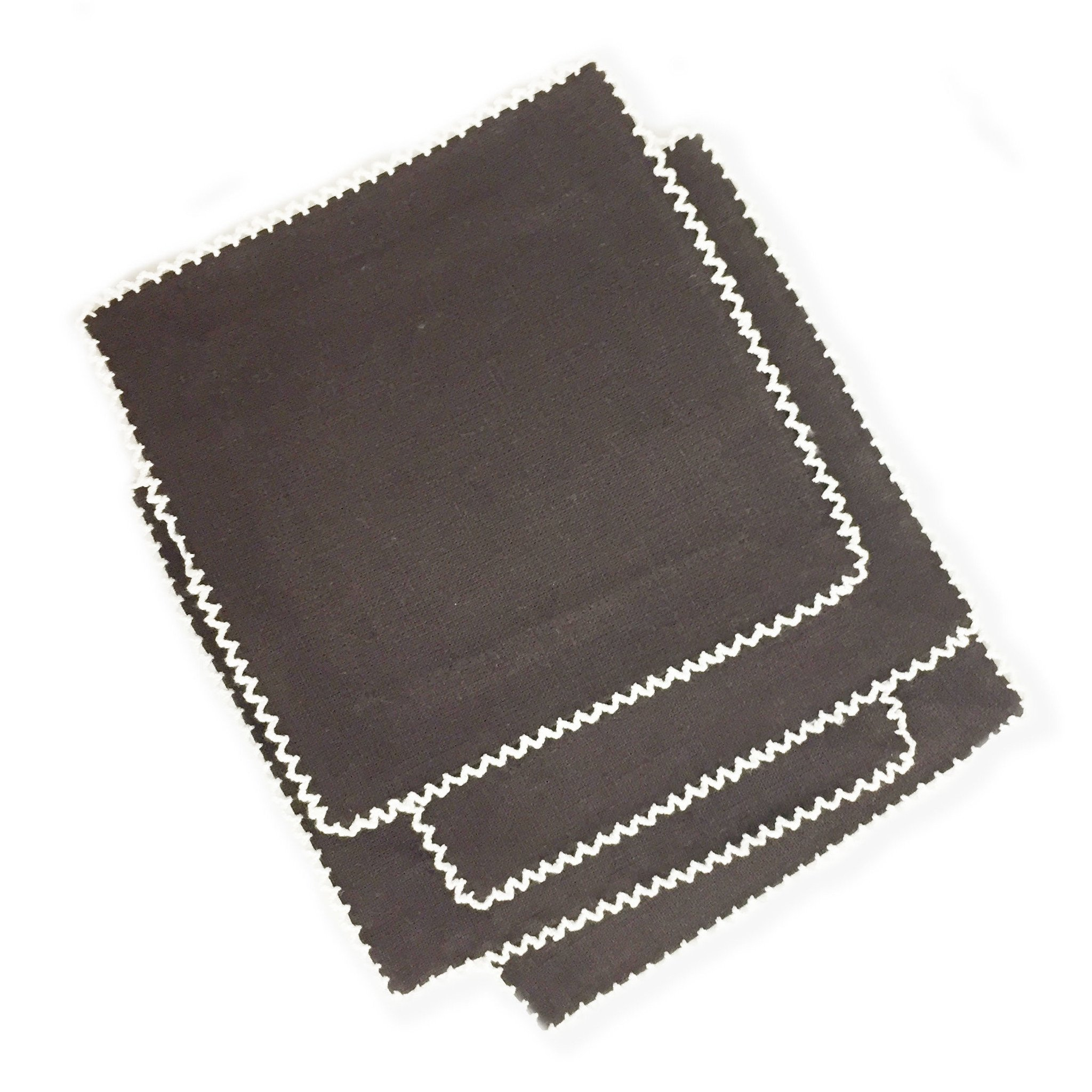 Chocolate Picot Cocktail Napkins, Set/4