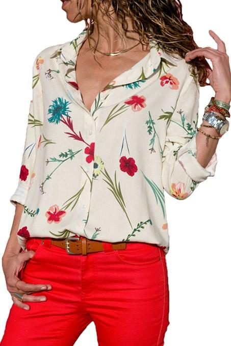 ROSE White Long Sleeve Floral Print Button Front Shirts For Women