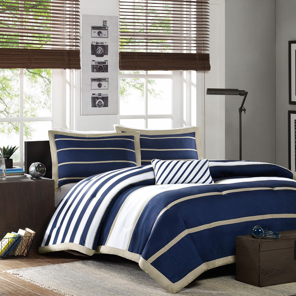 DONATELLA Twin/Twin XL Comforter Set in Navy White Khaki Stripes