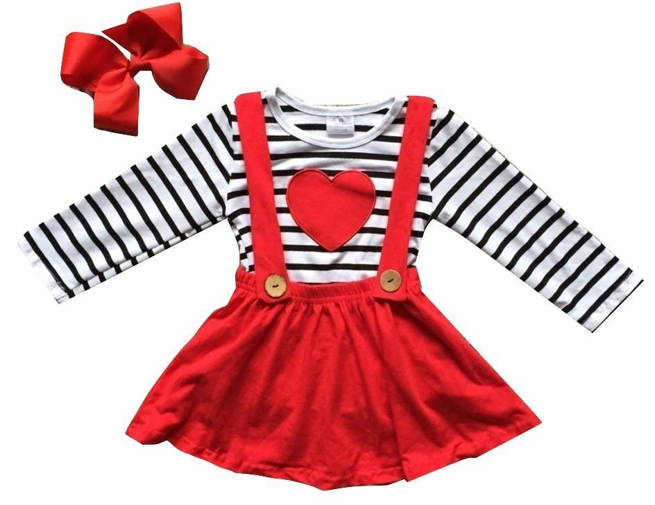 Suspender Red Dress And Striped Shirt 7Years Old