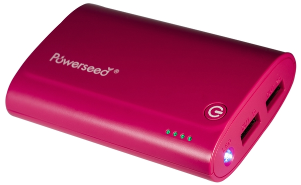 Powerseed® Tank, 7.200 mAh Pink. Power Bank Esterno per Smart Phone e Tablet.