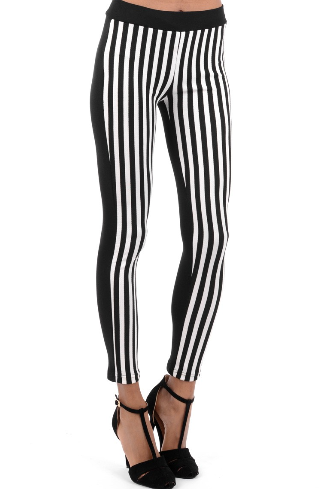 Monochrome Vertical Striped Leggings