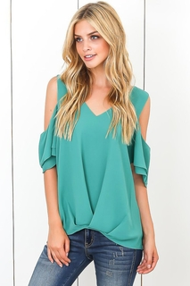 VITA Fashion Green Cold Shoulder V Neck Sewn Hem Blouse