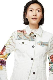 Desigual - Woman - White denim biker-style jacket - Exotic..
