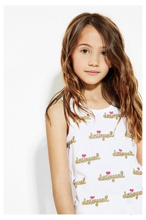 Desigual - Girl - White short-sleeve T-shirt with glitter -..
