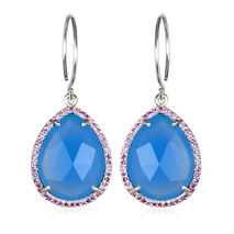 Paris Gem Teardrop - Blue Silver