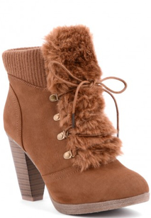 Knit And Fur Detailed Faux Suede Boots