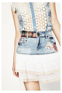 Desigual - Woman - Denim mini-skirt - Aurigae - Aurigae -..