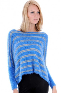 Cropped Stripy Furry Jumper