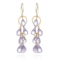 Waterfall Earrings Pink Amethyst Gold