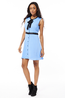 Blue Shirt Dress with Neck Tie Detail