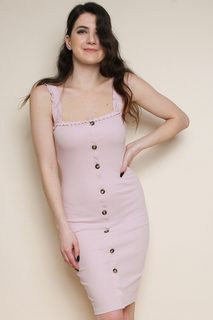 Rose Rib<b>Bed</b> Frill Cami Button Down Bodycon Dress