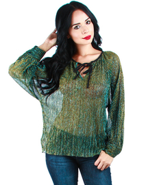 TEAL SHEER TINSEL BLOUSE WITH TIED FRONT