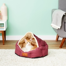 Burgundy & Beige Small Dog & Cat <b>Bed</b>