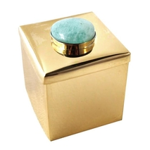 Lane Small Square Box - Brass + <b>amazon</b>ite