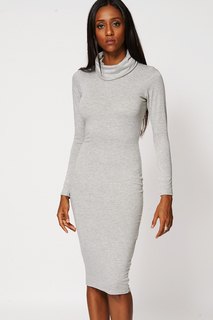 CERYS Grey Cowl Neck Fitted Dress