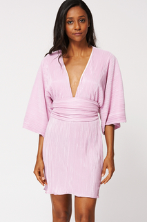 BELLE LILAC PLEATED MINI DRESS KIMONO WITH BELT