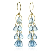 Waterfall Earrings Sky Blue Topaz Gold