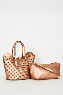 ROSE GOLD 2 IN 1 SHOPPER BAG WITH CUT OUT DETAIL