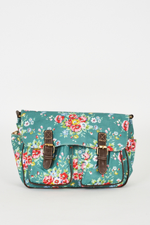 FLORAL PATTERN ZIP FASTENING TEAL SATCHEL BAG
