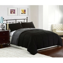 King size 3-Piece Black Grey Microfiber Comforter Set with 2..