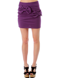 PURPLE PANEL BOWTIE MINI SKIRT