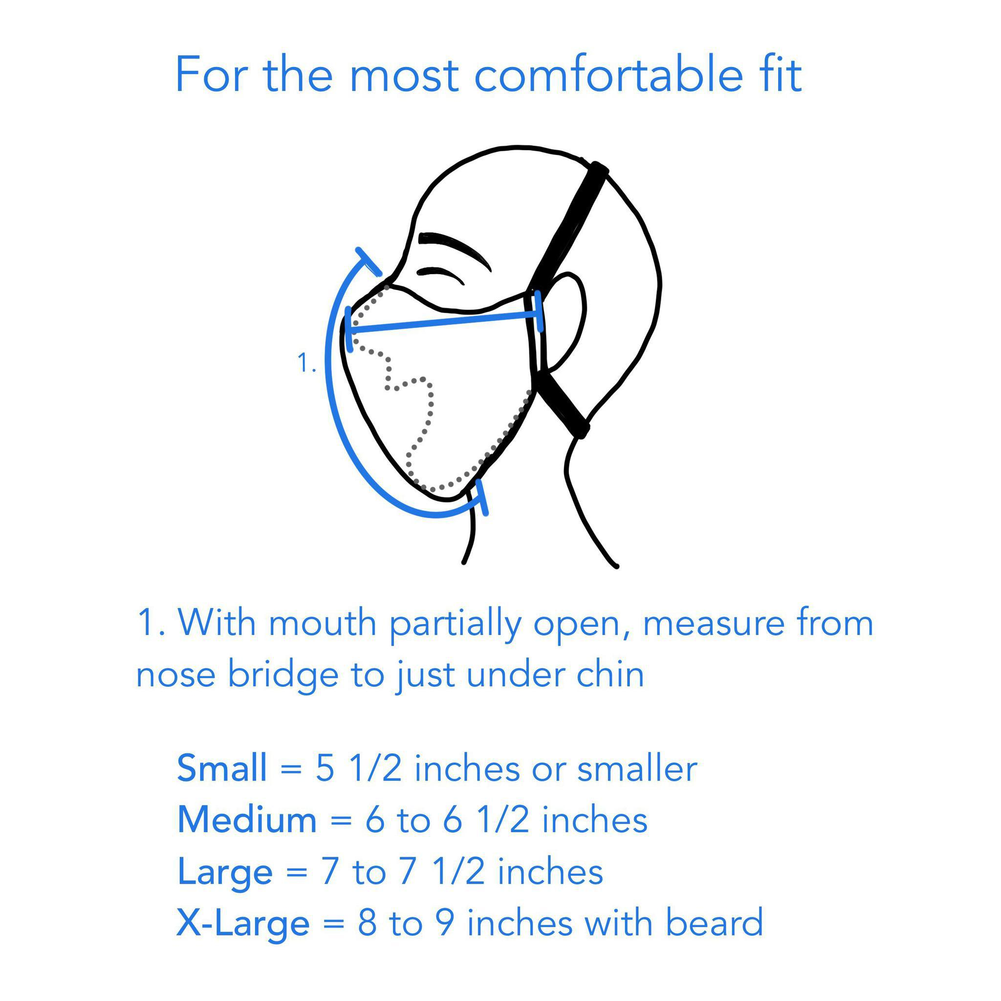 For the best fit, measure from top of nose to just under chin - thehandmadeshowroom.com