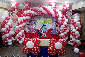 Bheem and Krishna Polka Theme Decoration -
