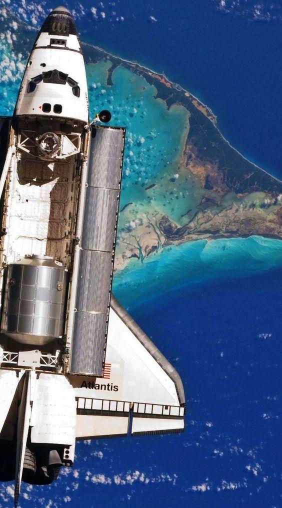 Atlantis space shuttle over the Bahamas from Above by crenk