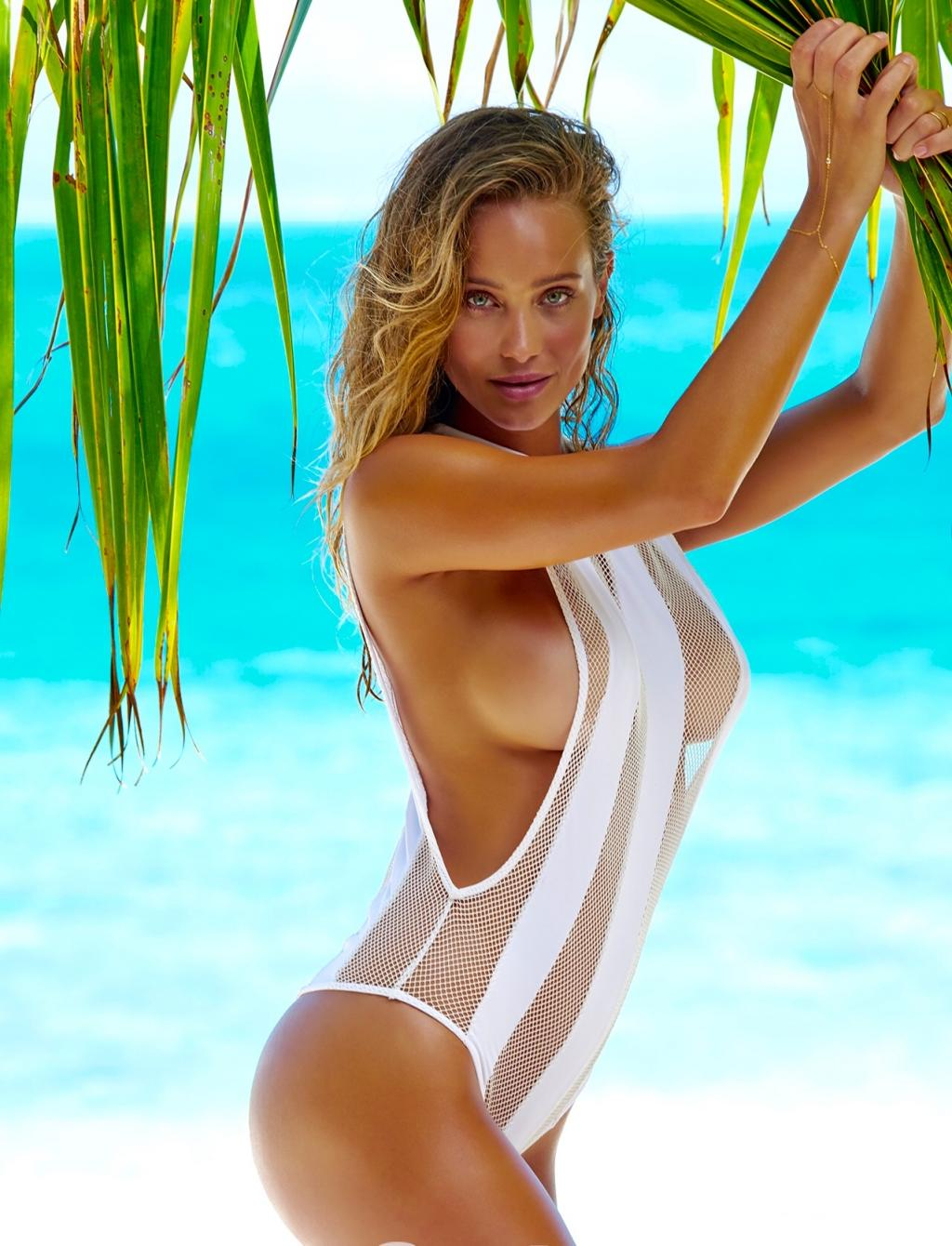 Hannah Davis in a Sexy White Bikini on the Beach by crenk
