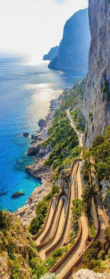 Amazing Cliff Path down to the water in Capri, Italy by crenk