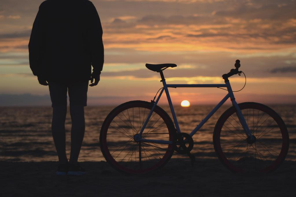 Sunset looking out Towards The Ocean with a Bike by crenk
