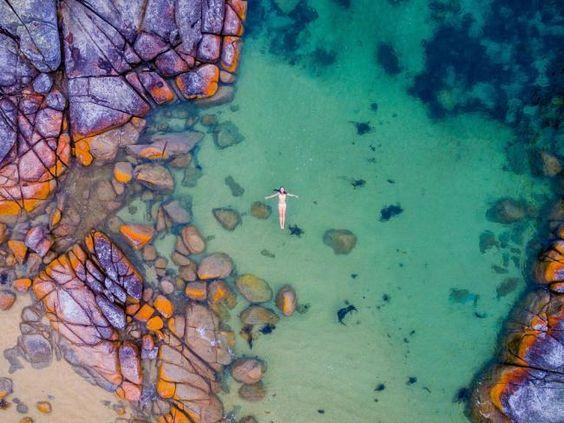 Binalong Bay Drone photo in Tasmania, Australia. This is an amazing shot by crenk