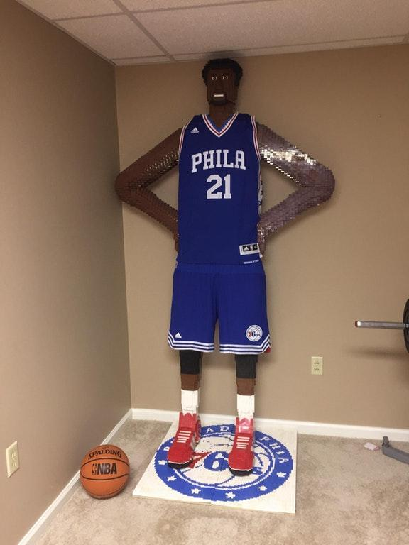 7 ft tall LEGO sculpture of Joel Embiid by crenk