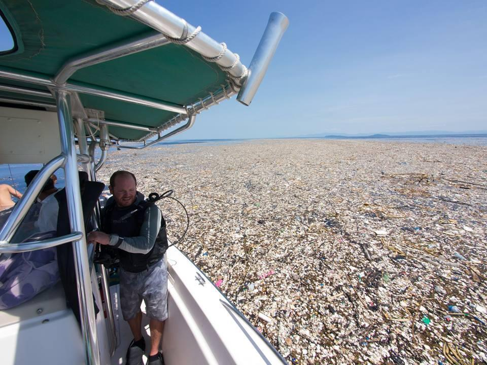 A floating mass of plastic and styrofoam found off the coast of Honduras by crenk