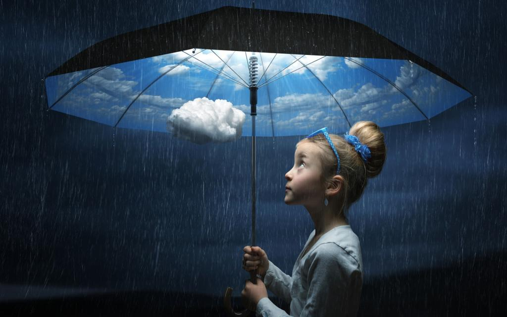 Girl with a Weather Umbrella - Rain, Clouds and Sunshine by crenk