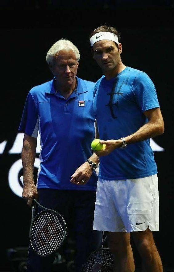 Roger Federer and Bjorn Borg Working Together on the Tennis Court in 2017 by crenk