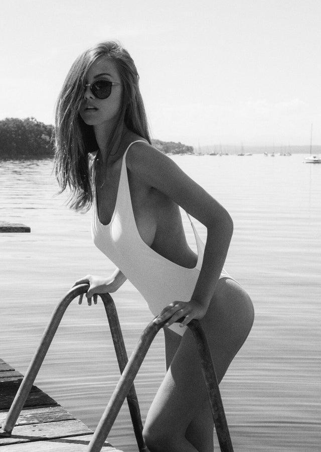 Nicola Cavanis - Sexy White One Piece Bikini by crenk