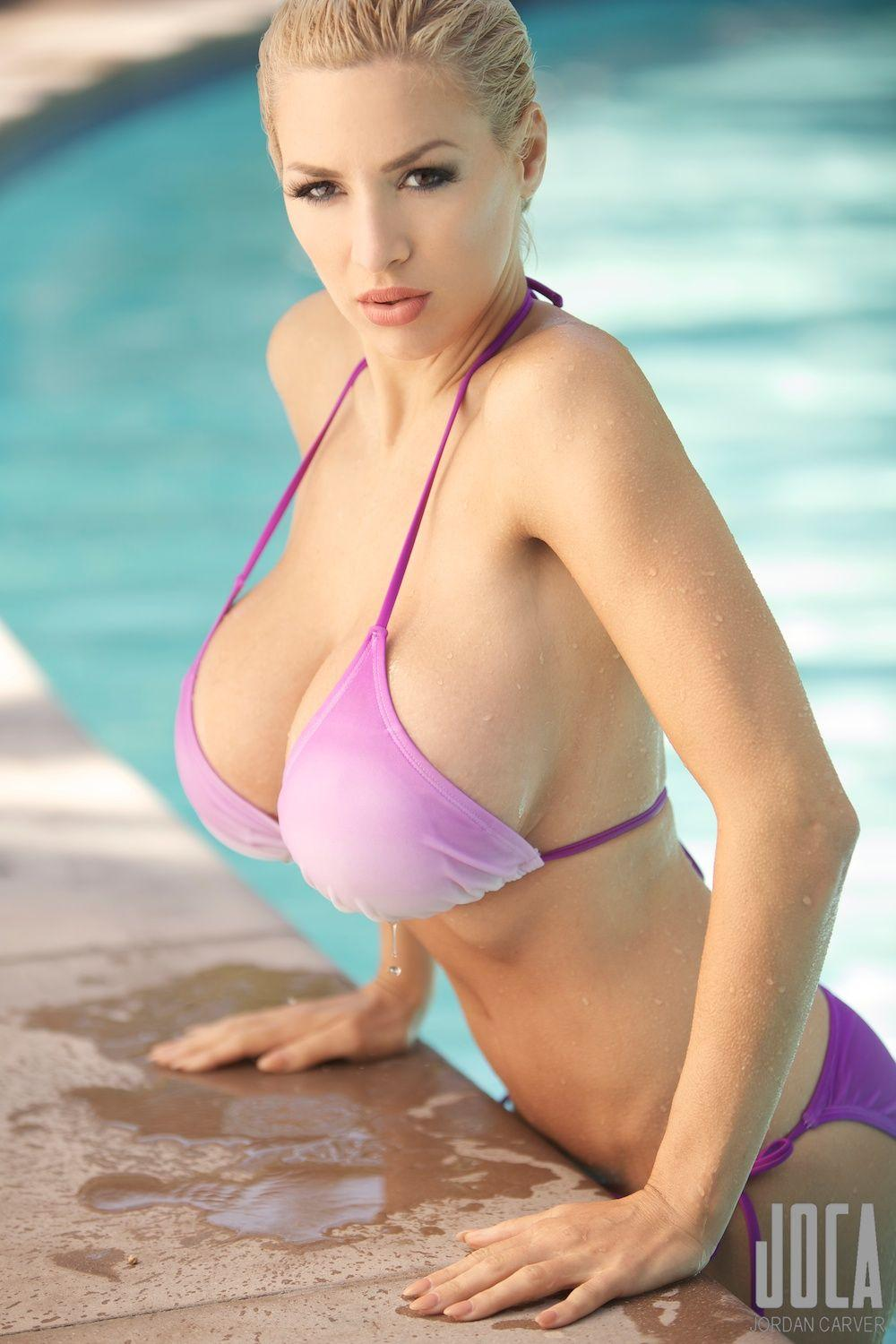 Jordan Carver Sexy in Pink Bikini Coming Out of Pool  by crenk