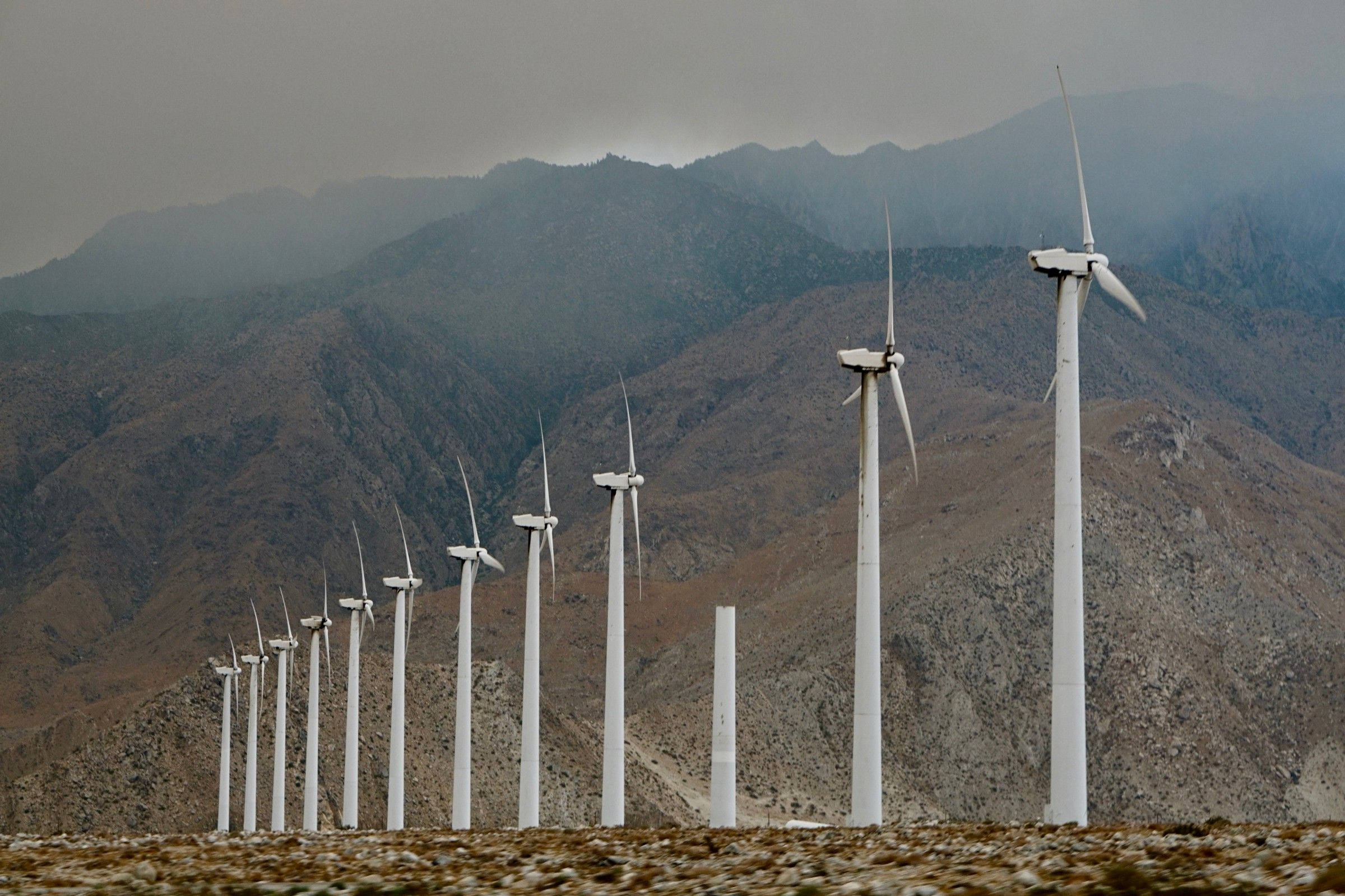 A photo of a wind farm in California.