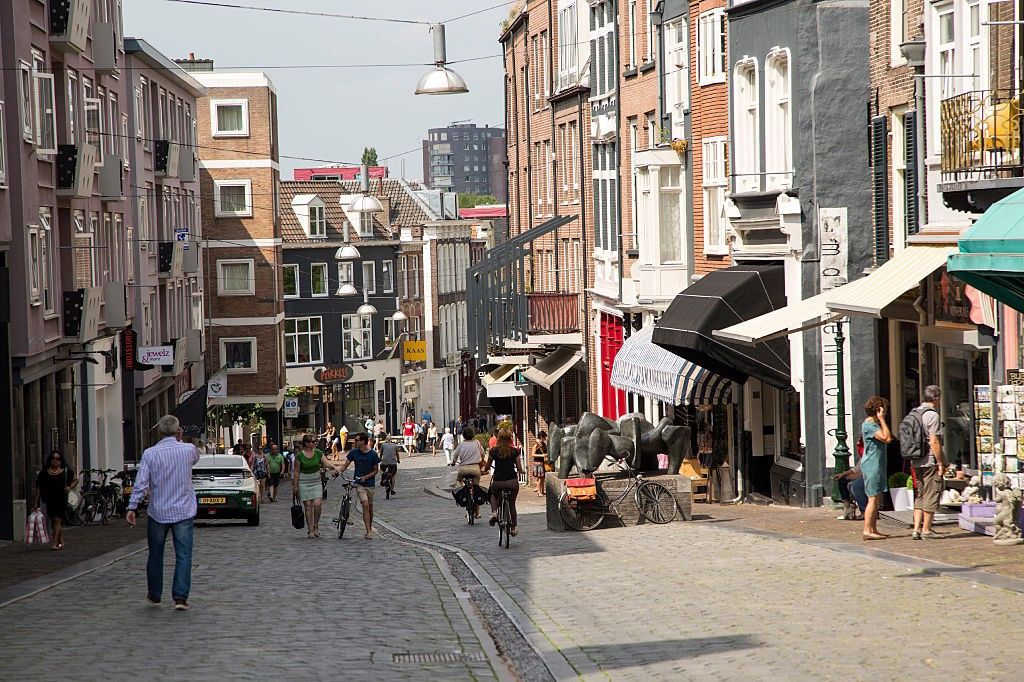 A street-level photo of a crowded, narrow street in Nijmegen, The Netherlands.