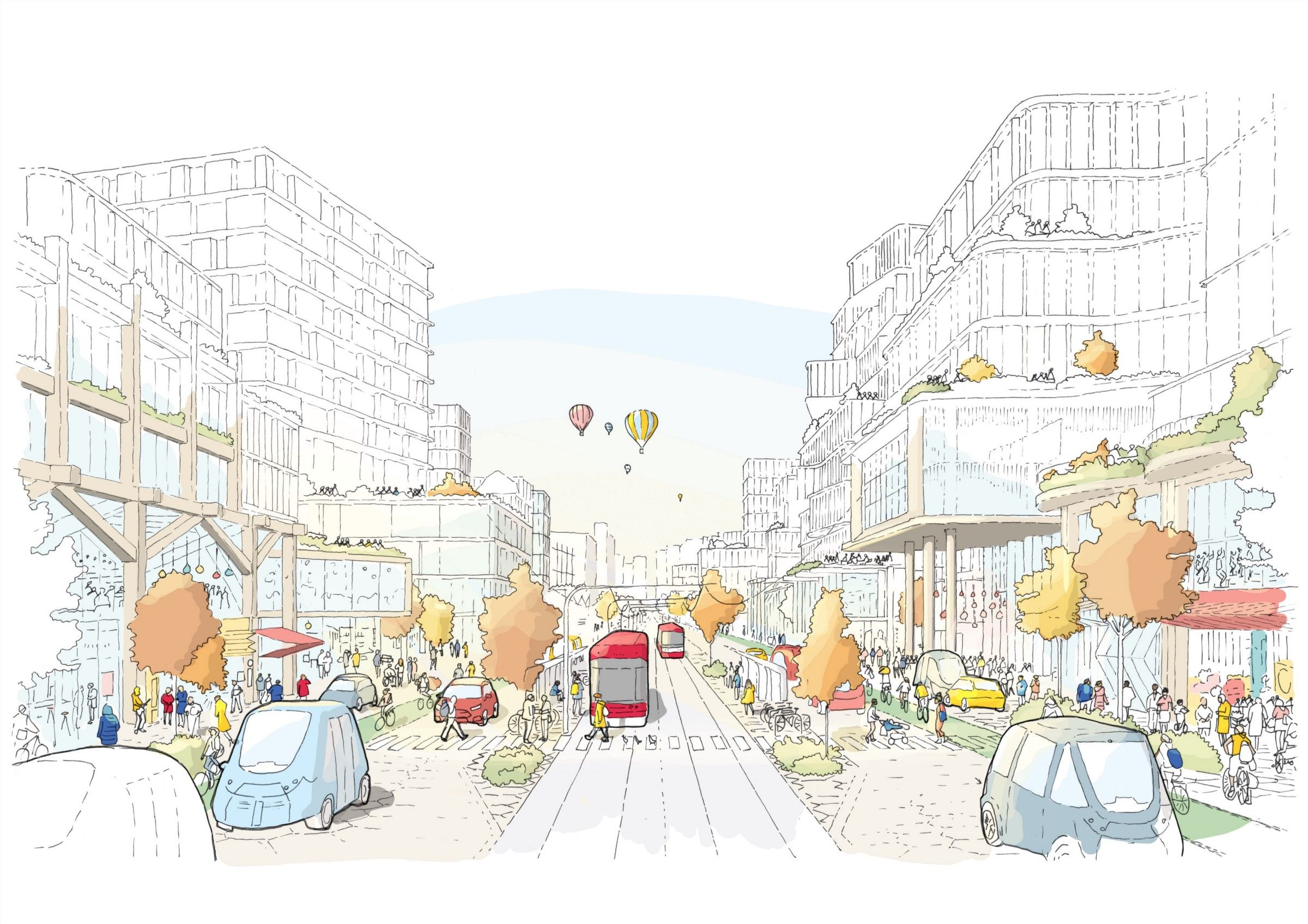 An illustration of a lively, futuristic street with streetcars, bikes, shops, pedestrians.