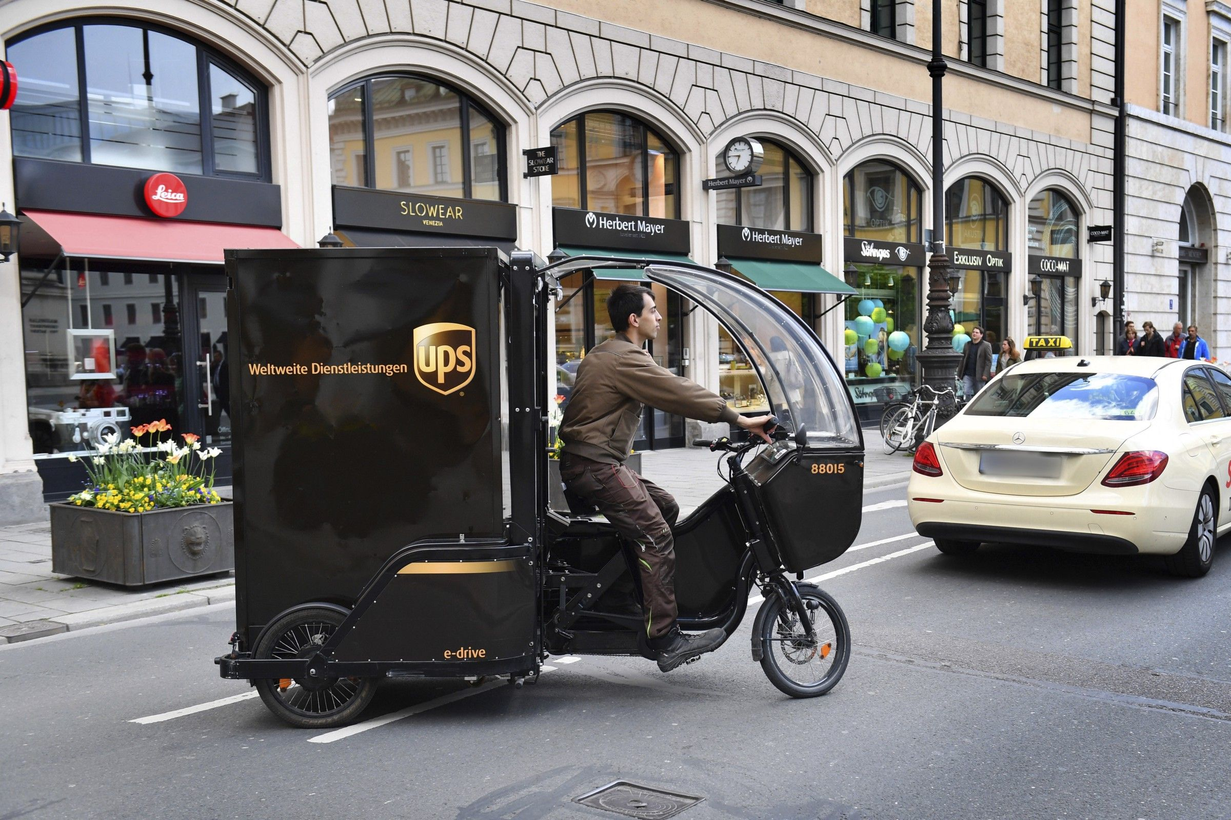A picture of a UPS delivery bicycle.