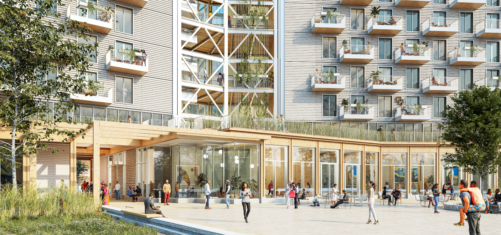 A rendering of PMX 15 outdoor space and entrance
