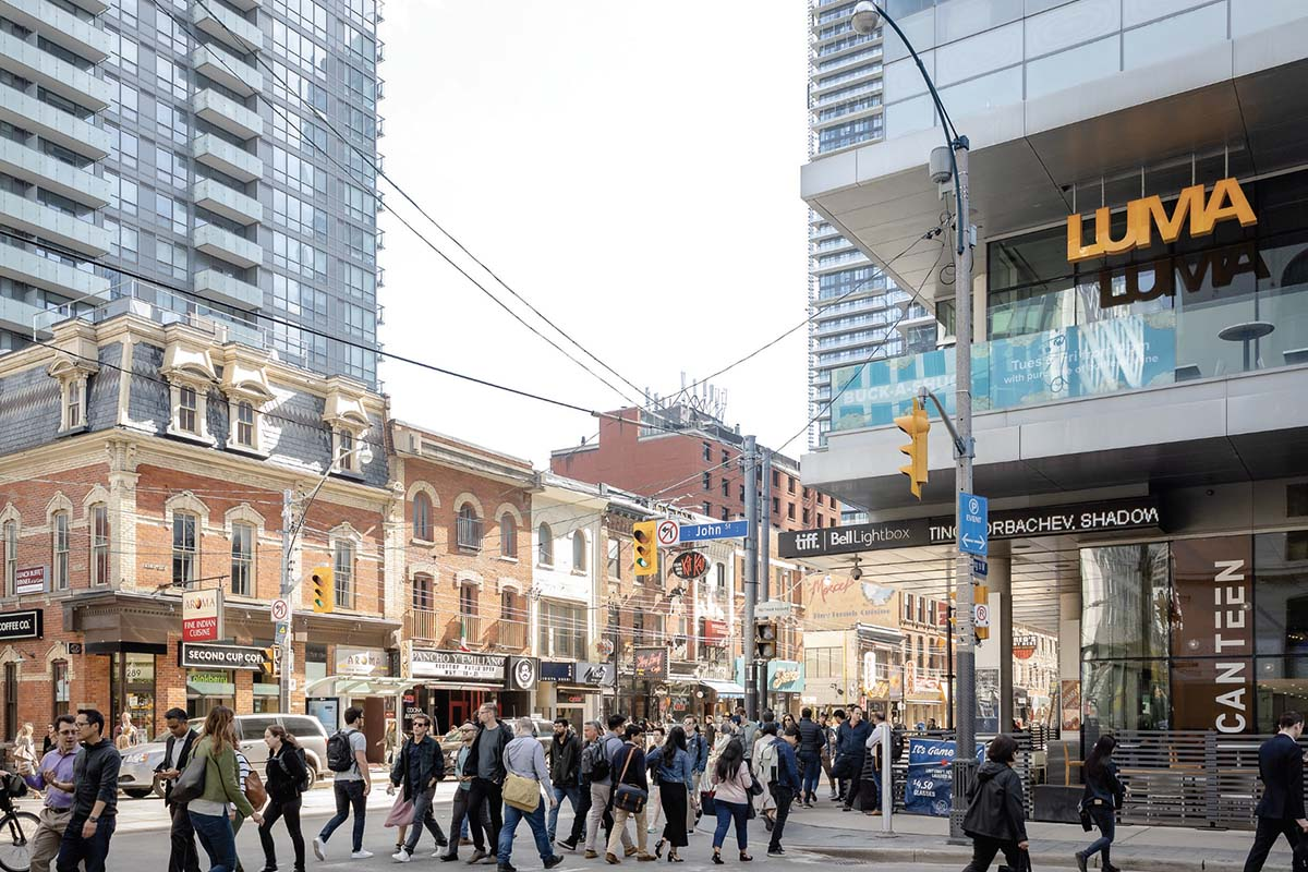 A busy street in Toronto