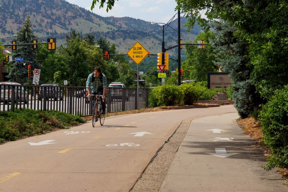 A cyclist on a cycling path in Colorado