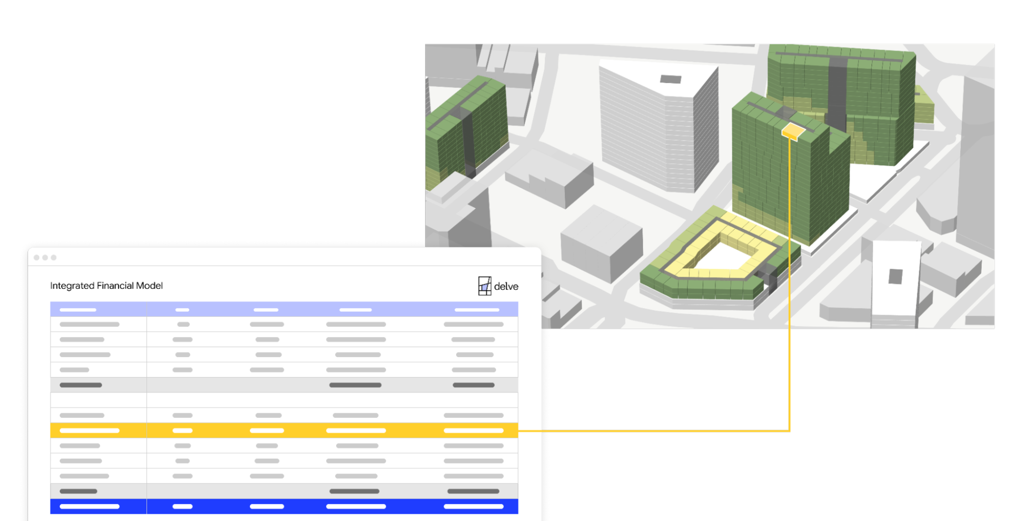 Two screengrabs: one showing a spreadsheet and the other showing an aerial view of an urban planning project.