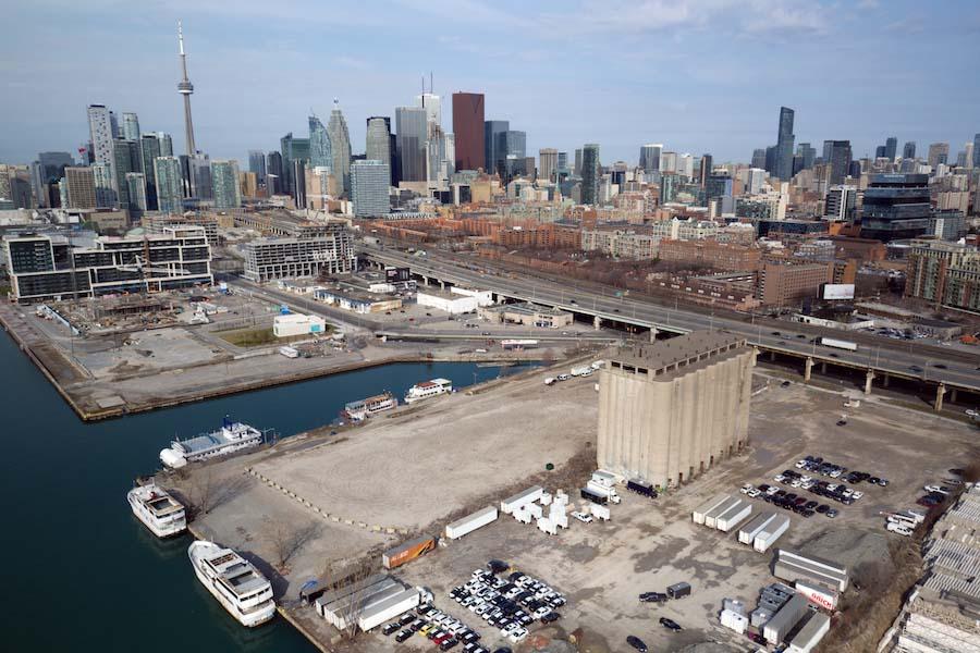Aerial shot of Toronto's Eastern Waterfront