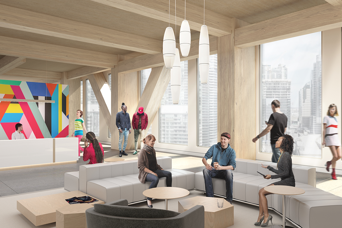 Interior rendering of an office reception area in Proto Model X, a prototypical timber building.