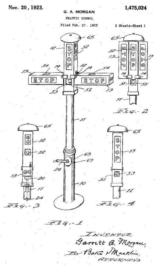 Patent drawing for Garrett A. Morgan's traffic signal